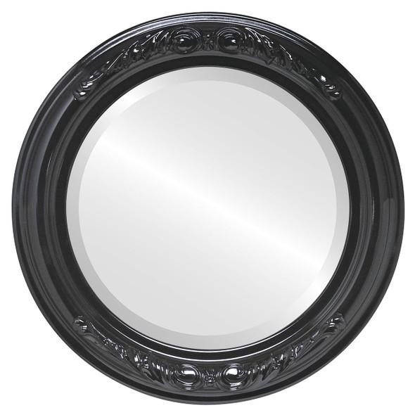 Beveled Mirror - Florence Round Frame - Gloss Black
