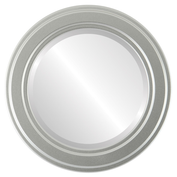 Beveled Mirror - Wright Round Frame - Silver Spray