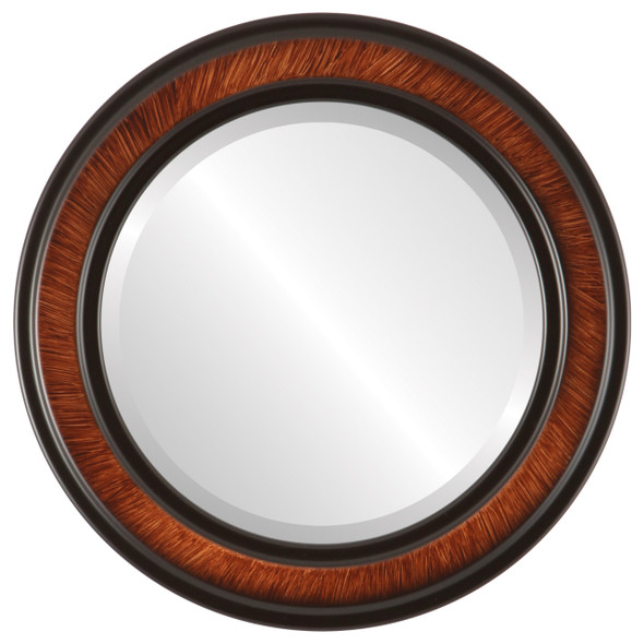 Beveled Mirror - Wright Round Frame - Vintage Walnut