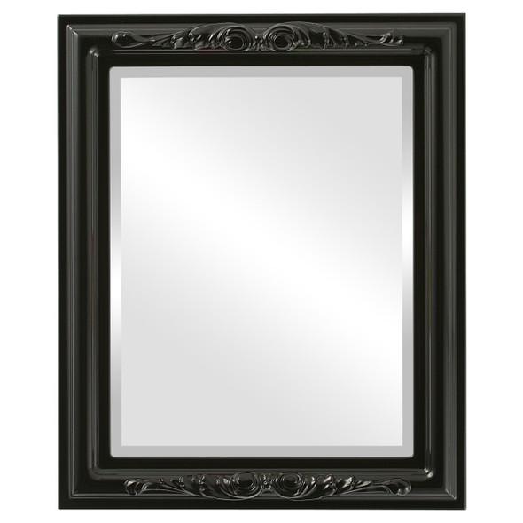Beveled Mirror - Florence Rectangle Frame - Gloss Black