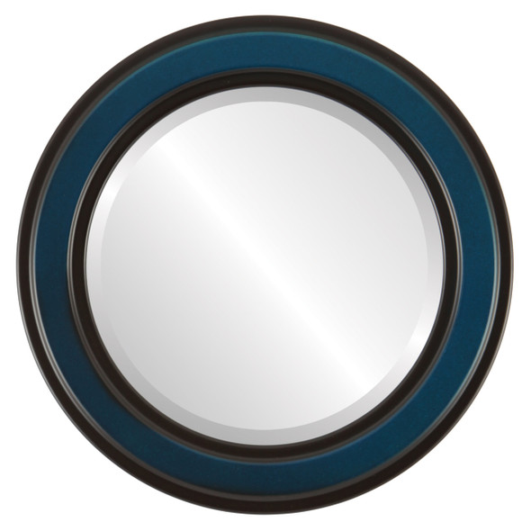 Beveled Mirror - Wright Round Frame - Royal Blue