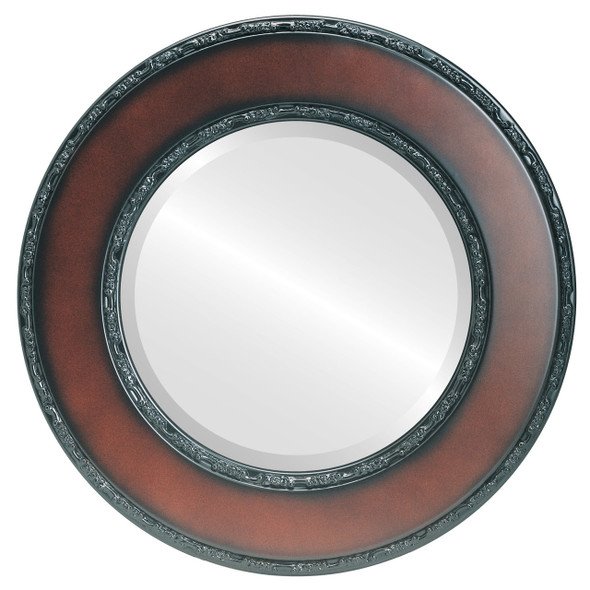 Beveled Mirror - Paris Round Frame - Walnut