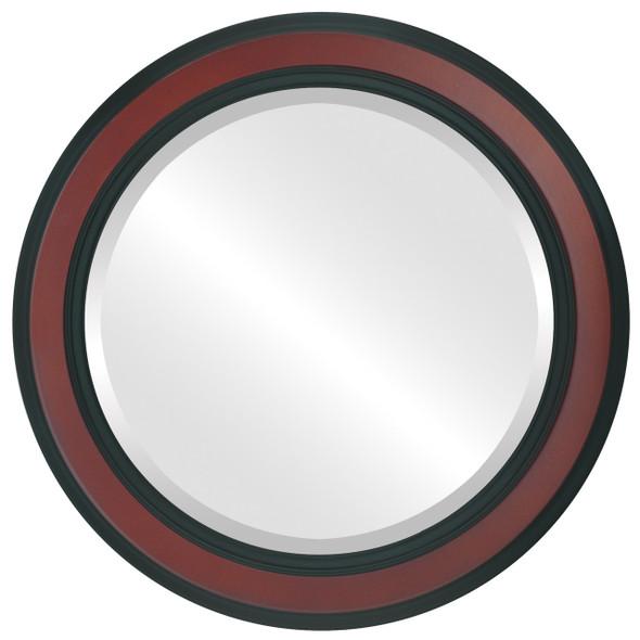 Beveled Mirror - Wright Round Frame - Rosewood