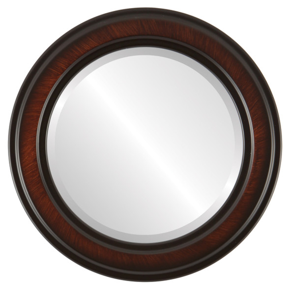 Beveled Mirror - Wright Round Frame - Vintage Cherry