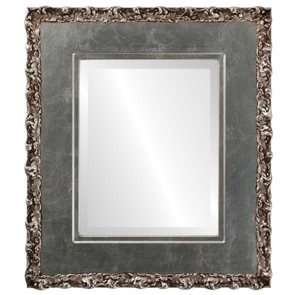 Beveled Mirror - Williamsburg Rectangle Frame - Silver Leaf with Brown Antique