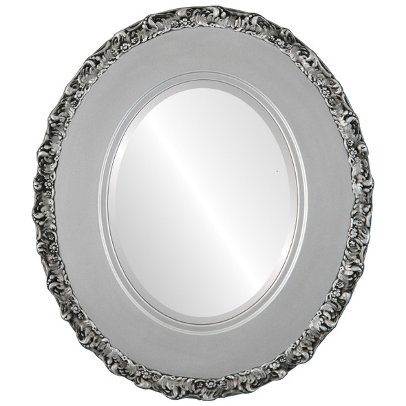 Beveled Mirror - Williamsburg Oval Frame - Silver Spray