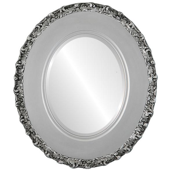 Beveled Mirror - Williamsburg Oval Frame - Silver Spray