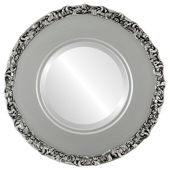 Beveled Mirror - Williamsburg Round Frame - Silver Spray