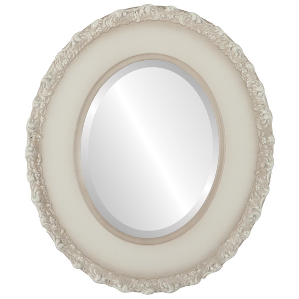 Beveled Mirror - Williamsburg Oval Frame - Taupe