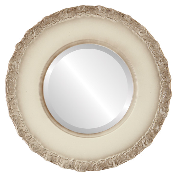 Beveled Mirror - Williamsburg Round Frame - Taupe