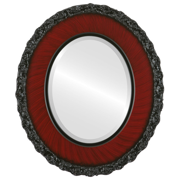 Beveled Mirror - Williamsburg Oval Frame - Vintage Cherry