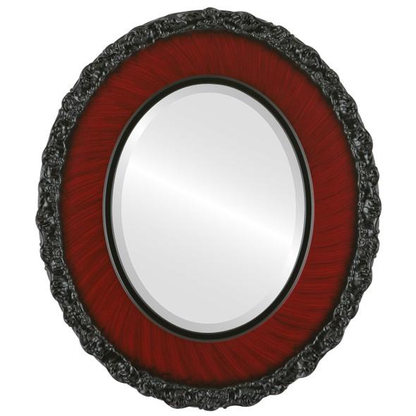 Beveled Mirror - Williamsburg Oval Frame - Vintage Cherry