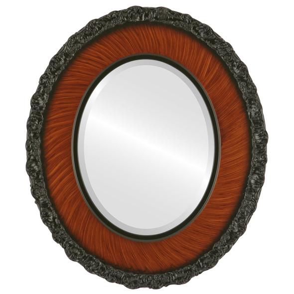 Beveled Mirror - Williamsburg Oval Frame - Vintage Walnut