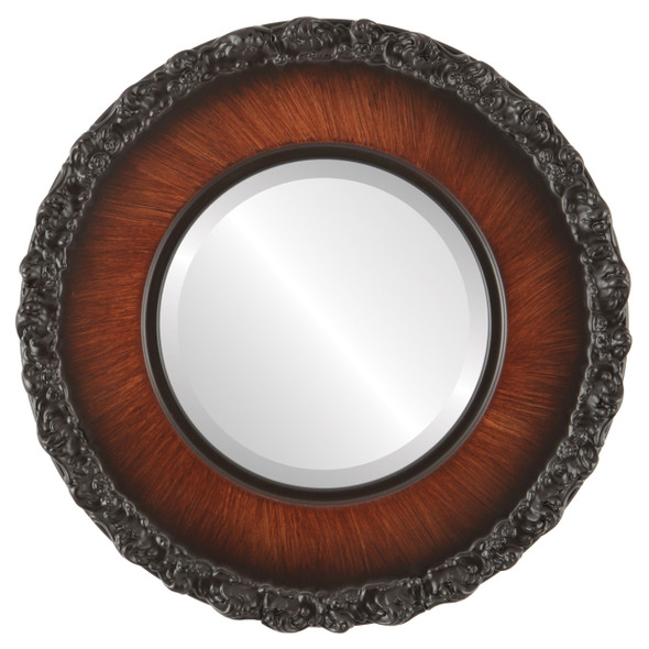 Beveled Mirror - Williamsburg Round Frame - Vintage Walnut