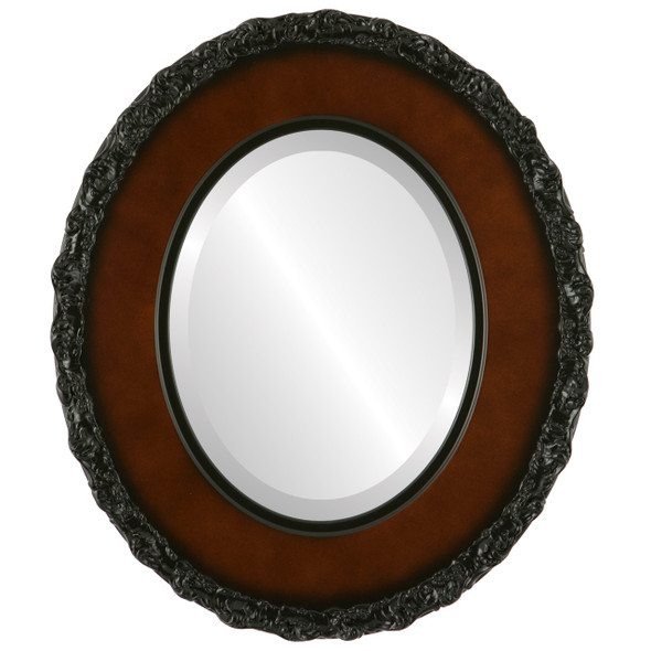 Beveled Mirror - Williamsburg Oval Frame - Walnut