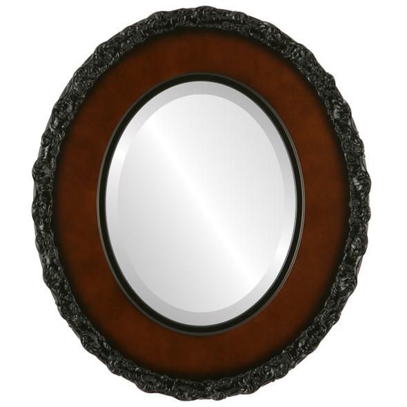Beveled Mirror - Williamsburg Oval Frame - Walnut