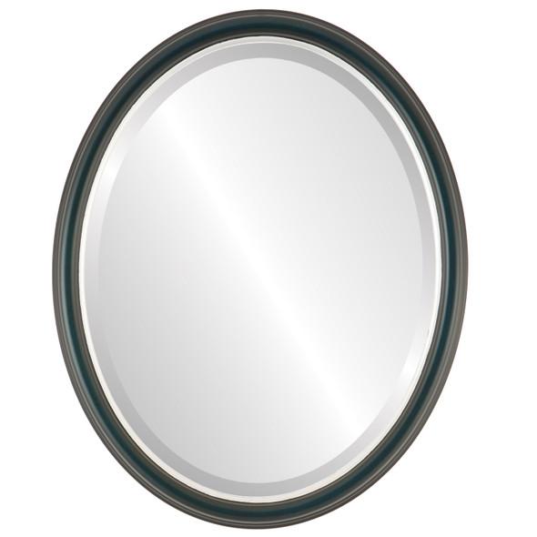 Beveled Mirror - Hamilton Oval Frame - Royal Blue with Silver Lip