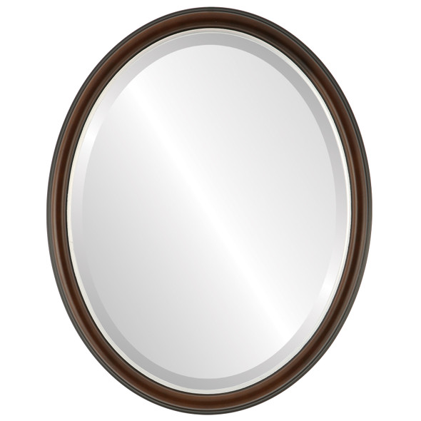 Beveled Mirror - Hamilton Oval Frame - Rosewood with Silver Lip