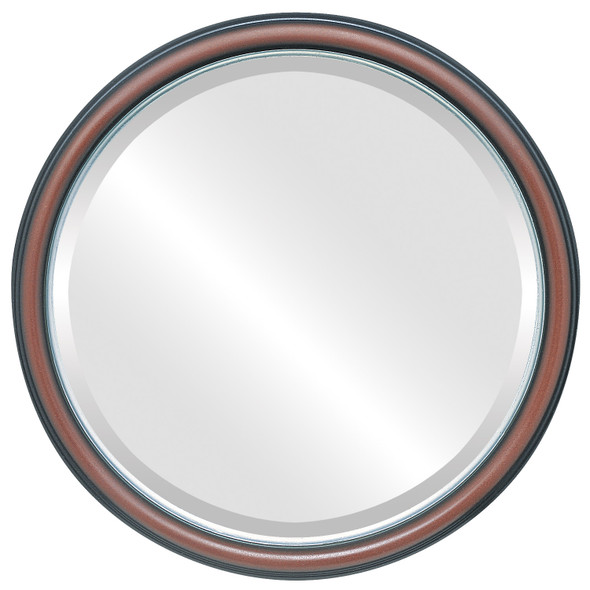 Beveled Mirror - Hamilton Round Frame - Rosewood with Silver Lip