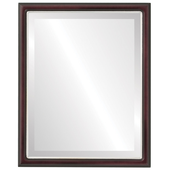 Beveled Mirror - Hamilton Rectangle Frame - Rosewood with Silver Lip