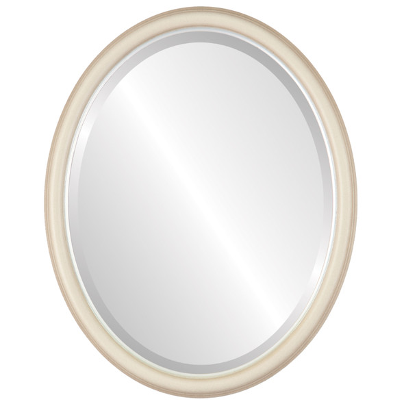 Beveled Mirror - Hamilton Oval Frame - Taupe with Silver Lip