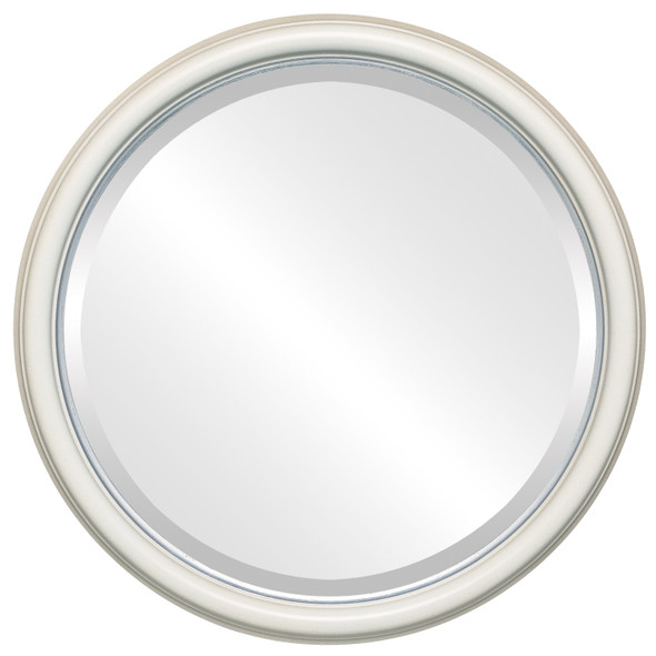Beveled Mirror - Hamilton Round Frame - Taupe with Silver Lip