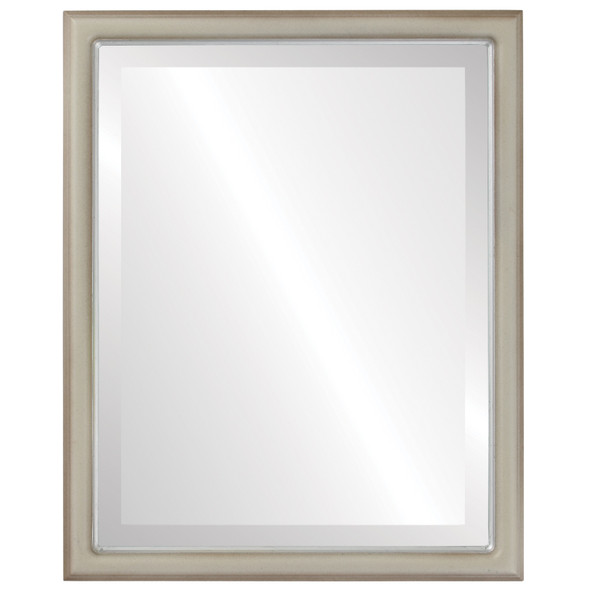Beveled Mirror - Hamilton Rectangle Frame - Taupe with Silver Lip