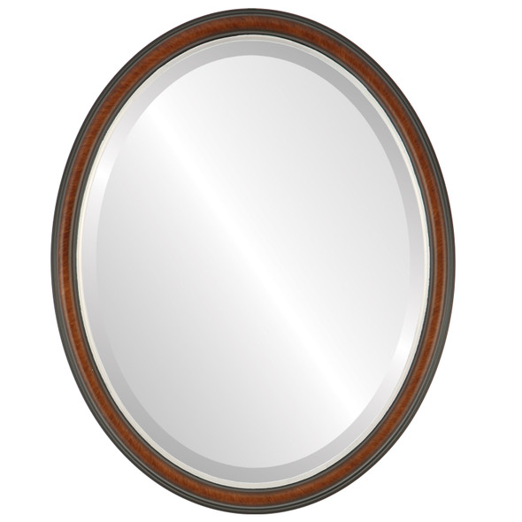 Beveled Mirror - Hamilton Oval Frame - Vintage Cherry with Silver Lip