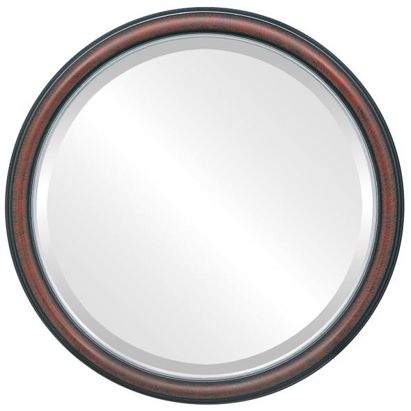 Beveled Mirror - Hamilton Round Frame - Vintage Cherry with Silver Lip