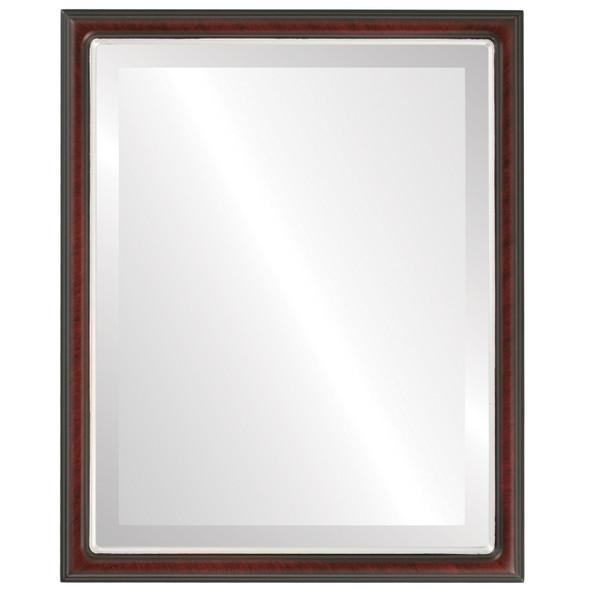 Beveled Mirror - Hamilton Rectangle Frame - Vintage Cherry with Silver Lip