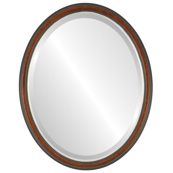 Beveled Mirror - Hamilton Oval Frame - Vintage Walnut with Silver Lip