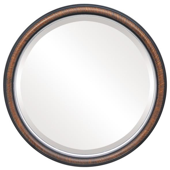 Beveled Mirror - Hamilton Round Frame - Vintage Walnut with Silver Lip