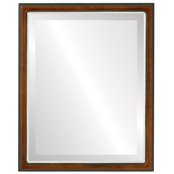 Beveled Mirror - Hamilton Rectangle Frame - Vintage Walnut with Silver Lip