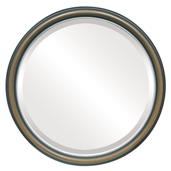 Beveled Mirror - Hamilton Round Frame - Walnut with Silver Lip