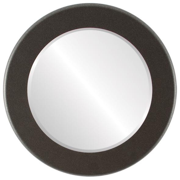 Beveled Mirror - Cafe Round Frame - Black Silver