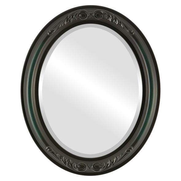 Beveled Mirror - Florence Oval Frame - Hunter Green