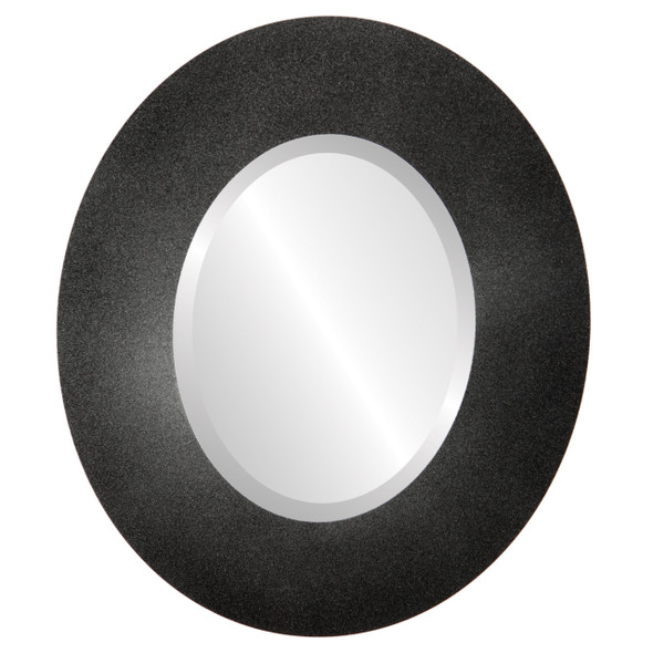Beveled Mirror - Tribeca Oval Frame - Black Silver