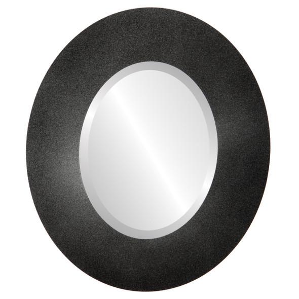 Beveled Mirror - Tribeca Oval Frame - Black Silver
