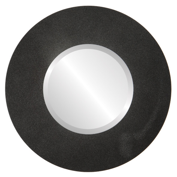 Beveled Mirror - Tribeca Round Frame - Black Silver