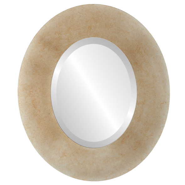 Beveled Mirror - Tribeca Oval Frame - Burnished Silver