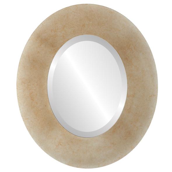 Beveled Mirror - Tribeca Oval Frame - Burnished Silver