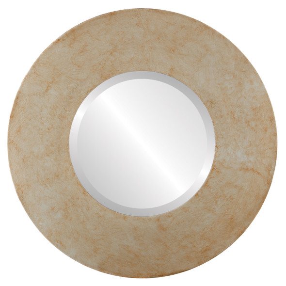 Beveled Mirror - Tribeca Round Frame - Burnished Silver