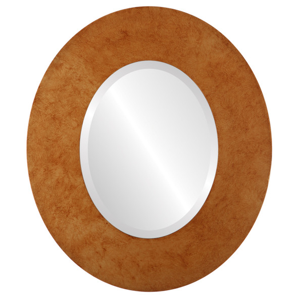 Beveled Mirror - Tribeca Oval Frame - Burnished Gold