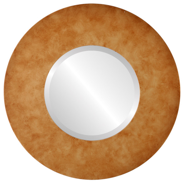 Beveled Mirror - Tribeca Round Frame - Burnished Gold