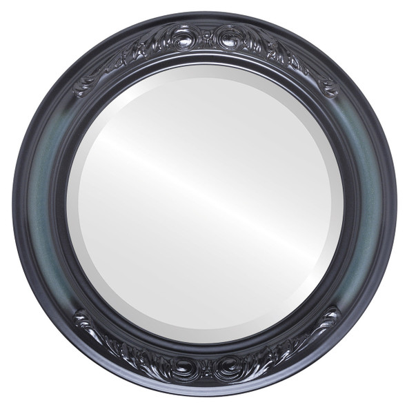 Beveled Mirror - Florence Round Frame - Hunter Green