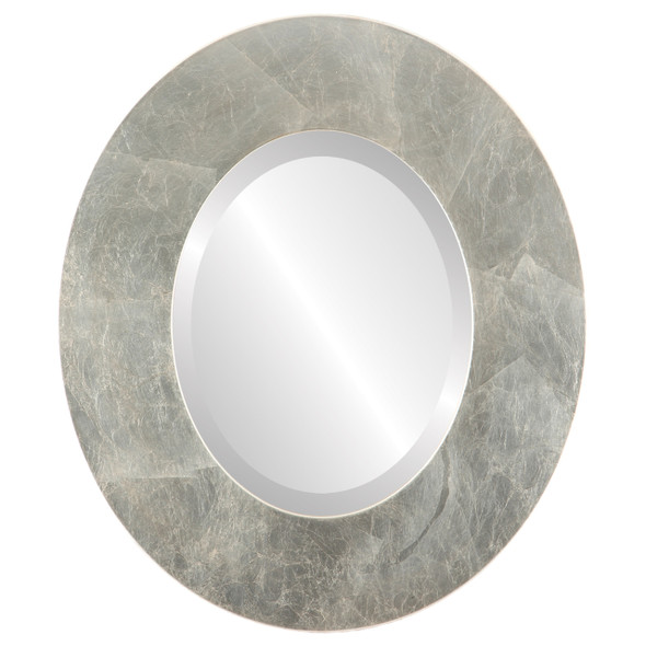 Beveled Mirror - Tribeca Oval Frame - Silver Leaf with Brown Antique