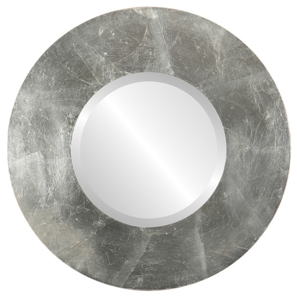 Beveled Mirror - Tribeca Round Frame - Silver Leaf with Brown Antique