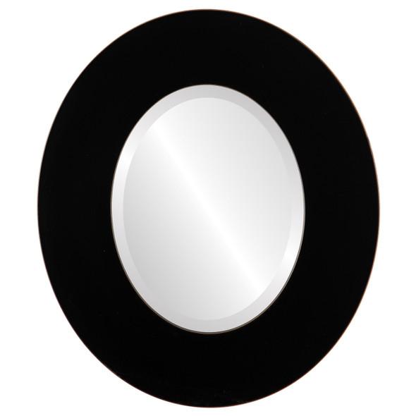 Beveled Mirror - Tribeca Oval Frame - Rubbed Black