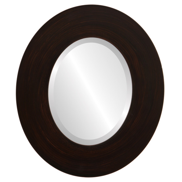 Beveled Mirror - Tribeca Oval Frame - Mocha