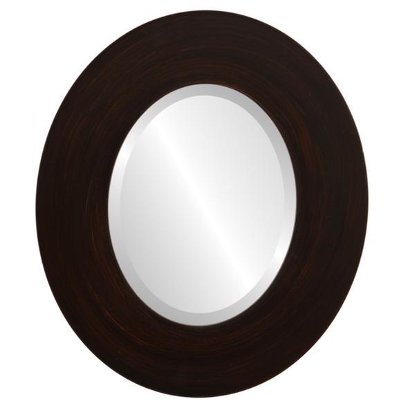 Beveled Mirror - Tribeca Oval Frame - Mocha